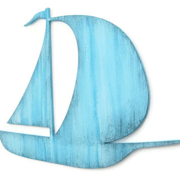 Sailboat Wall Decor distressed rustic nautical wall hanging hand painted wood in pale blue and grey, shabby syle sailboat for beach decor