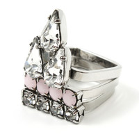 Let Them Eat Cake Set of 3 Crystal & Spikes Rings - Silver/Rose