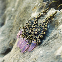 Light purple drops boho chic earrings. Tribal shield collection, Bohemian jewelry, Ethnic chandelier earrings. 2014 trend