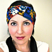 SALE Tribal Native print Winter Turban Headband, Bohemian Headwrap, Aztec Earwarmer