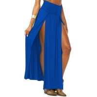Zeagoo Women's Trends High Waisted Double Slits Maxi Skirt Blue