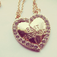 Gold Best Friends Heart Necklace Set