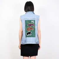 Vintage Grunge Vest 90s Vest Denim Jacket Denim Vest Upcycled Denim Custom Denim Jean Jacket Suede Southwestern Bear Bull Patchwork Jacket L