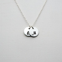 Hand Stamped Sterling Silver Personalized Monogram Necklace - Custom Initial Discs Necklace - Modern Jewellery - Silver Delicate Necklace