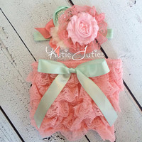Pink, Coral, Mint, Diaper Cover and Headband- bloomers, newborn, baby girl, toddler, birthday, cake smash, ivory, photo prop