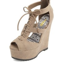 CUT-OUT PEEP TOE LACE-UP WEDGES