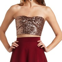 BOW FRONT SEQUIN TUBE TOP
