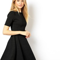ASOS Structured Skater Dress In Rib