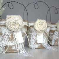 Rustic Wedding Favor Bag, Container, Country, Vintage, Party Favor, Bridal Shower