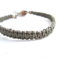 Macrame Bracelet Grey Hemp Bracelet Square Knot Simple Jewelry