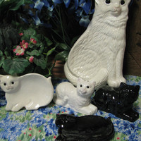 White Ceramic Cat Spoon Rest for Kitchen Countertops or Cook Stoves | TexasCeramics - Housewares on ArtFire