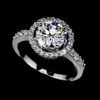 Luxury Big Round Center CZ Stone Rhodium Plated Ring with AAA Quality White CZ Setting