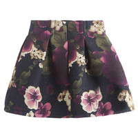ROMWE Floral Embroidered Crepe Puff Purple Skirt