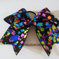 Spotted Neon Medium Youth Cheer Hair Bow Cheerleading