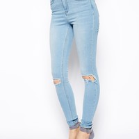 ASOS Ridley Supersoft High Waist Ultra Skinny Jeans in Watercolour Blue with Busted Knees