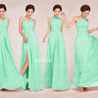 mint bridesmaid dresses, long bridesmaid dresses, mismatched bridesmaid dress, chiffon prom dress, long prom dress, RE528