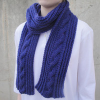 Sparkly Purple Scarf with Cables, Long & Thin, Hand Knit Wool, Women and Teen Girls, Valentine's Day Gift