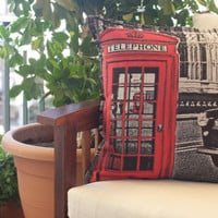 London red phone booth, black and red decorative woven throw pillow case cushion cover ideal christmas gift for stylish home owners