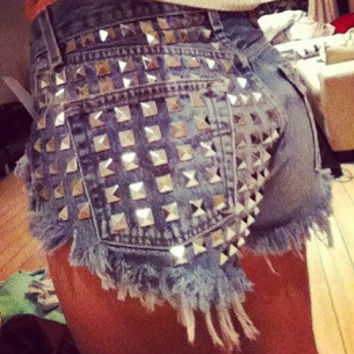 High waist denim shorts Super Studded Super frayed all sizes S/M/L/XL/XXL