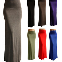 SOLID MAXI SKIRT Long Full Length High waist Fold over S M L XL