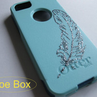 iphone 5 Otterbox case,bling iphone 5 case, baby blue , Baby blue iphone 5s case, iphone 5s case,Iphone 5 cover, iphone 5 commuter series