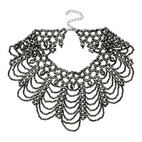 Hematite Bead High Neck Drape Necklace