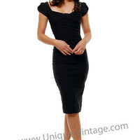 Stop Staring 40&#x27;s Style Black Billion Dollar Baby Wiggle Dress - S - 3X - Unique Vintage - Bridesmaid &amp; Wedding Dresses