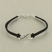 Black Infinity Leather Bracelet from P.S. I Love You More Boutique
