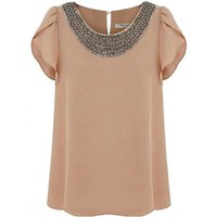 Quality Embellished Bead Collar Ruffle Shoulder Tops T-Shirts Blouse