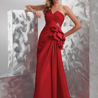 FLIRT by Maggie Sottero Prom Dresses-Really Red Strapless Hip Ruffle Corset Gown - Unique Vintage - Bridesmaid &amp; Wedding Dresses