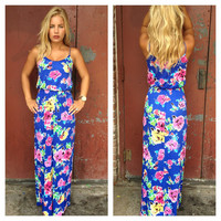 Royal Blue Floral Print Maxi Dress