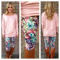 Grape & Pastel Floral Leggings