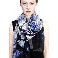 Blue Trees Wool Scarf, Printed Shawl.