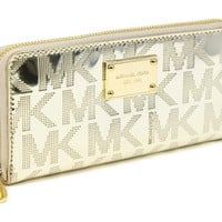 Michael Kors Signature Metallic Zip Around Continental Wallet Clutch Pale Gold