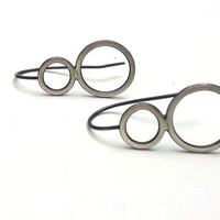 Minimal Geometric Earrings with a Brushed Black Patina from the Eyelet Lace Collection, Oxidized Silver Jewelry