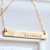 Gold Nameplate Necklace, Gold Bar Necklace, Personalized Necklace, Hand Stamped Gold Necklace, Blessed, Custom Name Necklace