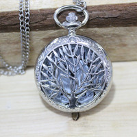 Hot sale the Tree of life Pocket Watch Necklace alice charm necklace with chain Jewelry Pendant men's gift
