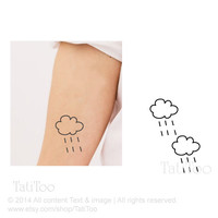 Raining cloud temporary tatoo - Temporary Tattoo T066