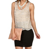 Ivory Beads Embellished Sleeveless Top