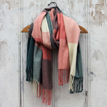 The Lodge Plaid Scarf in Peach - Plaid