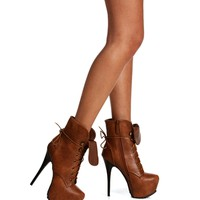 Tan Lace Up Combat Booties