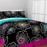 Hot Pink, Teal & Black Teen Girls Queen Comforter Set (8 Piece Bed In A Bag)