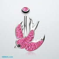 Tiffany Inspired Swallow Multi-Gem Belly Button Ring