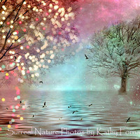 Dreamy Nature Photography, Pink Aqua Teal Sparkle Nature Photo, Sparkling Dreamy Fantasy Nature, Twinkling Trees Lights, Fine Art Photo 8x12