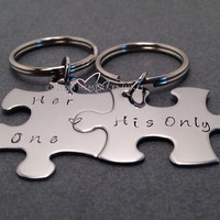 Her One His Only Keychains, Puzzle Piece Keychains, Hand Stamped Keychains, Set of 2, Valentines Gift, Valentines Day