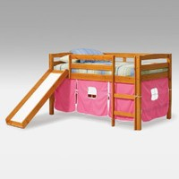 Josie Pink Tent Loft Bed with Slide