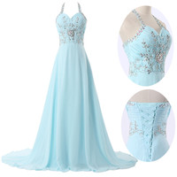 2013 New Lady Long Chiffon Bridesmaid Evening Formal Party Ball Gown Prom Dress
