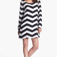 Stoosh Chevron Print Trapeze Dress (Juniors) | Nordstrom