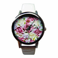 Floral Watch, Women's White Faux Leather Watch, Flower Watch