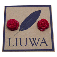 Red Rose Earrings, Surgical Stainless Steel Posts, Valentines Day Earrings